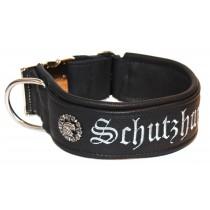 """halsband_echtleder """"Schutzhund"""" 60mm_schwarz"""