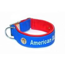 """halsband_echtleder """"American Bulldog"""" 60mm_blau_rot"""