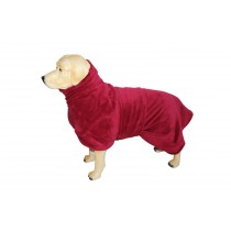 Hundemantel_rot_Fleece_Bademantel_Frottee