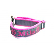 Zugstophalsband_30mm_Fleece_grau_neonpink1